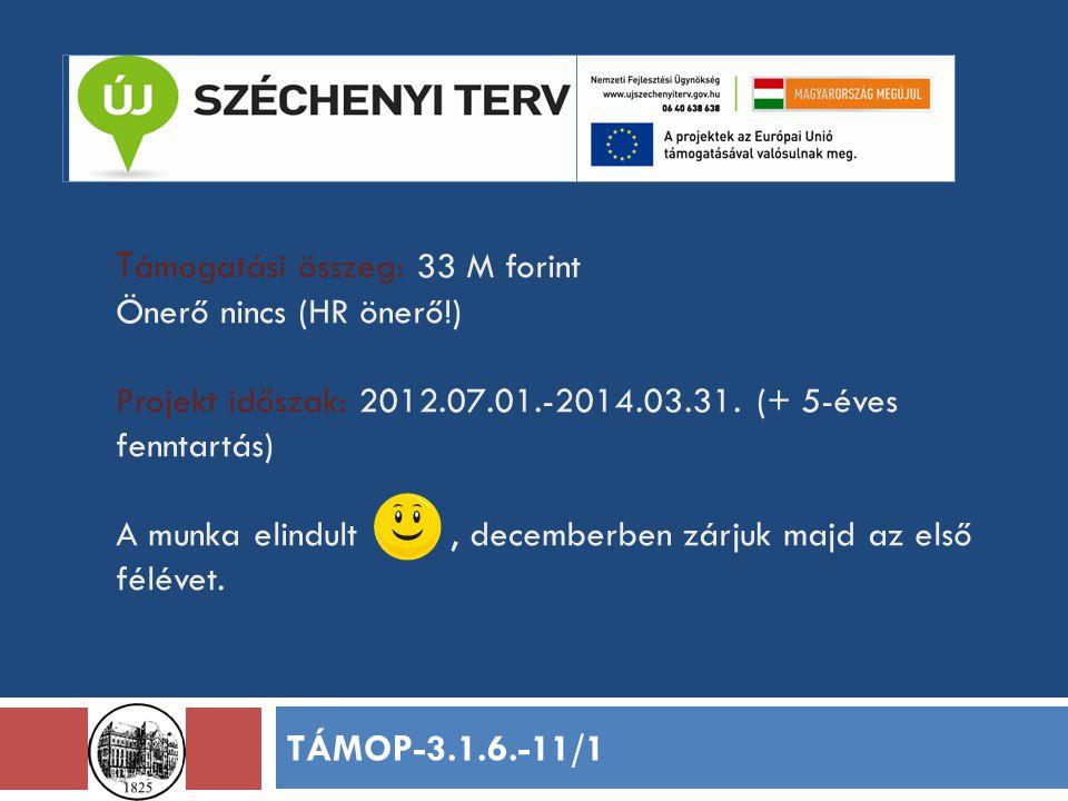 T ámogatási összeg: 33 M forint Önerő nincs (HR önerő!) Projekt időszak: 2012.07.01.-2014.03.31. (+ 5-éves fenntartás) A munka elindult, decemberben z