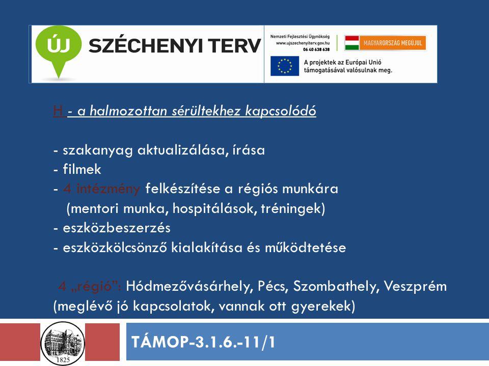 """H - a halmozottan sérültekhez kapcsolódó - szakanyag aktualizálása, írása - filmek - 4 intézmény felkészítése a régiós munkára (mentori munka, hospitálások, tréningek) - eszközbeszerzés - eszközkölcsönző kialakítása és működtetése 4 """"régió : Hódmezővásárhely, Pécs, Szombathely, Veszprém (meglévő jó kapcsolatok, vannak ott gyerekek) TÁMOP-3.1.6.-11/1"""