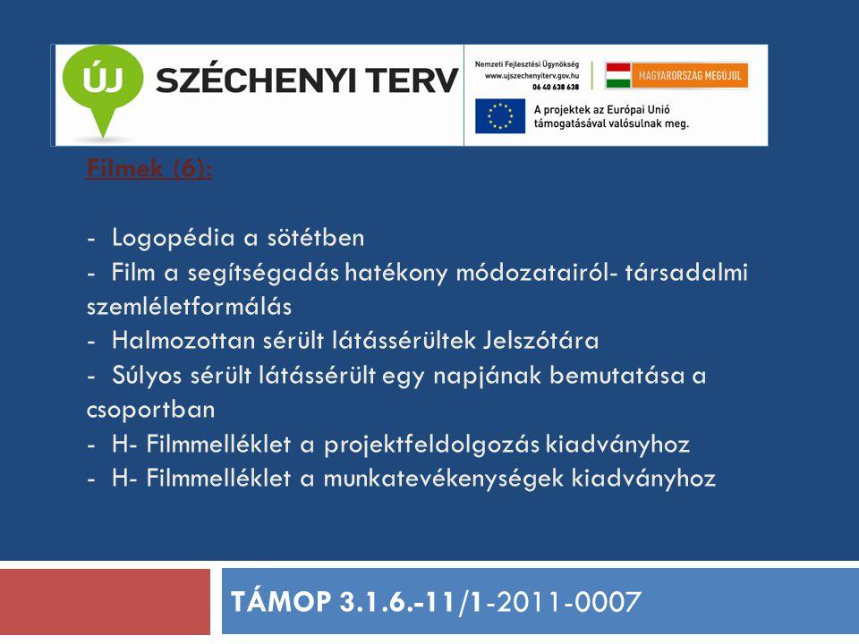 Filmek (6): - Logopédia a sötétben - Film a segítségadás hatékony módozatairól- társadalmi szemléletformálás - Halmozottan sérült látássérültek Jelszótára - Súlyos sérült látássérült egy napjának bemutatása a csoportban - H- Filmmelléklet a projektfeldolgozás kiadványhoz - H- Filmmelléklet a munkatevékenységek kiadványhoz TÁMOP 3.1.6.-11/1-2011-0007