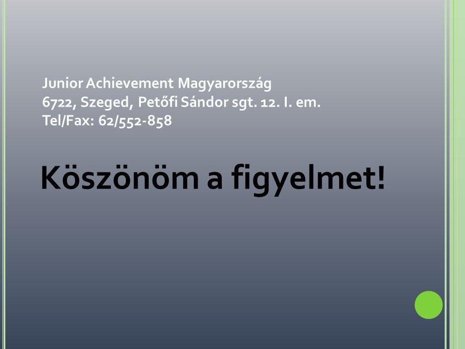 Junior Achievement Magyarország 6722, Szeged, Petőfi Sándor sgt. 12. I. em. Tel/Fax: 62/552-858 Köszönöm a figyelmet!