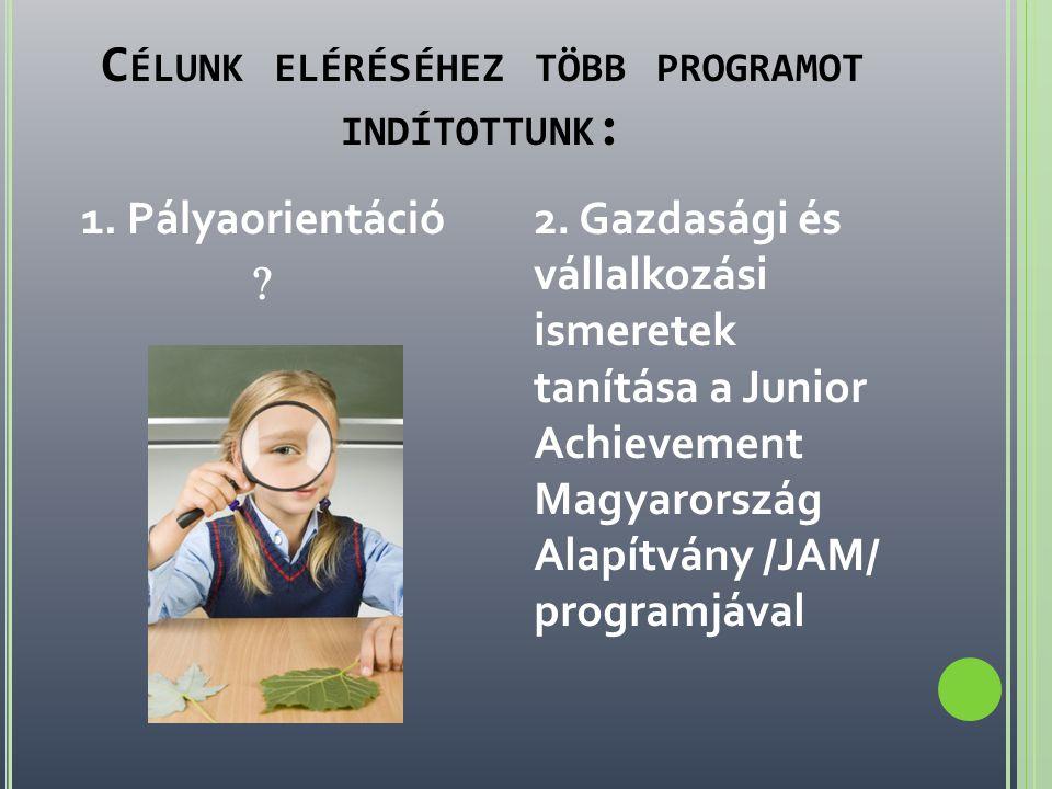 C ÉLUNK ELÉRÉSÉHEZ TÖBB PROGRAMOT INDÍTOTTUNK : 1. Pályaorientáció  2. Gazdasági és vállalkozási ismeretek tanítása a Junior Achievement Magyarország