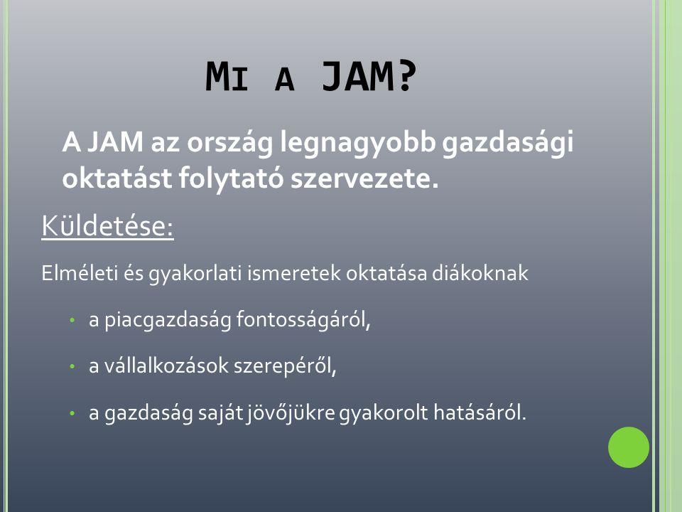 M I A JAM? A JAM az ország legnagyobb gazdasági oktatást folytató szervezete. Küldetése: Elméleti és gyakorlati ismeretek oktatása diákoknak • a piacg