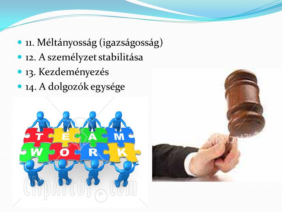  11. Méltányosság (igazságosság)  12. A személyzet stabilitása  13. Kezdeményezés  14. A dolgozók egysége