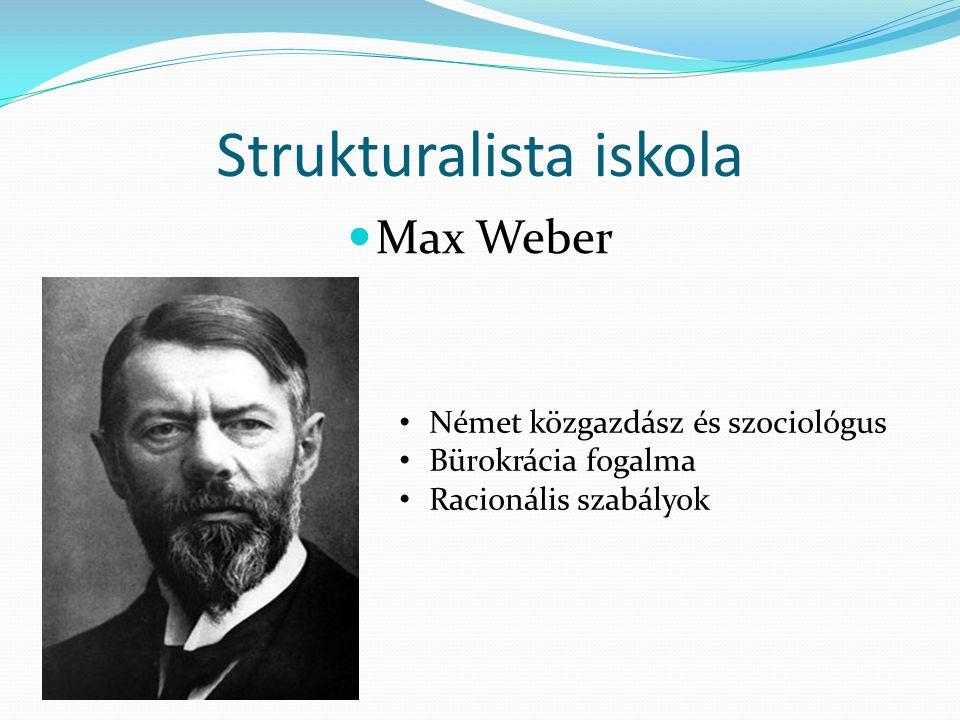 Strukturalista iskola  Max Weber • Német közgazdász és szociológus • Bürokrácia fogalma • Racionális szabályok