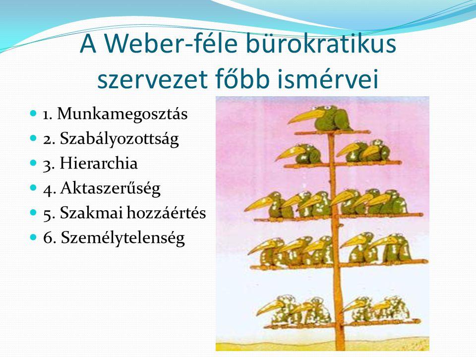 A Weber-féle bürokratikus szervezet főbb ismérvei  1. Munkamegosztás  2. Szabályozottság  3. Hierarchia  4. Aktaszerűség  5. Szakmai hozzáértés 