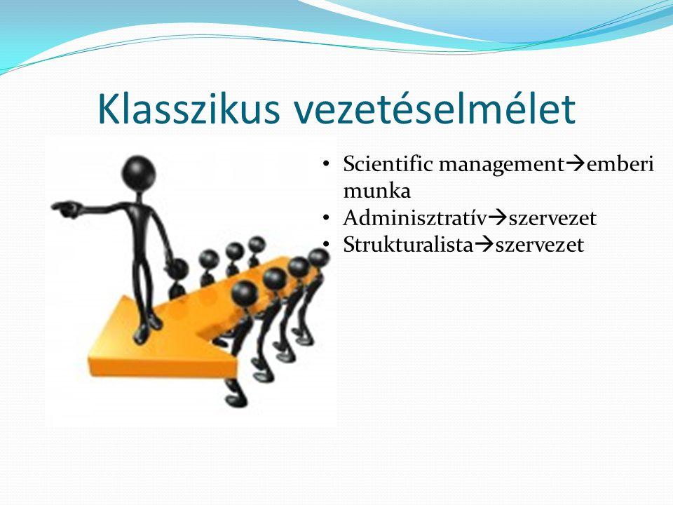 Klasszikus vezetéselmélet • Scientific management  emberi munka • Adminisztratív  szervezet • Strukturalista  szervezet