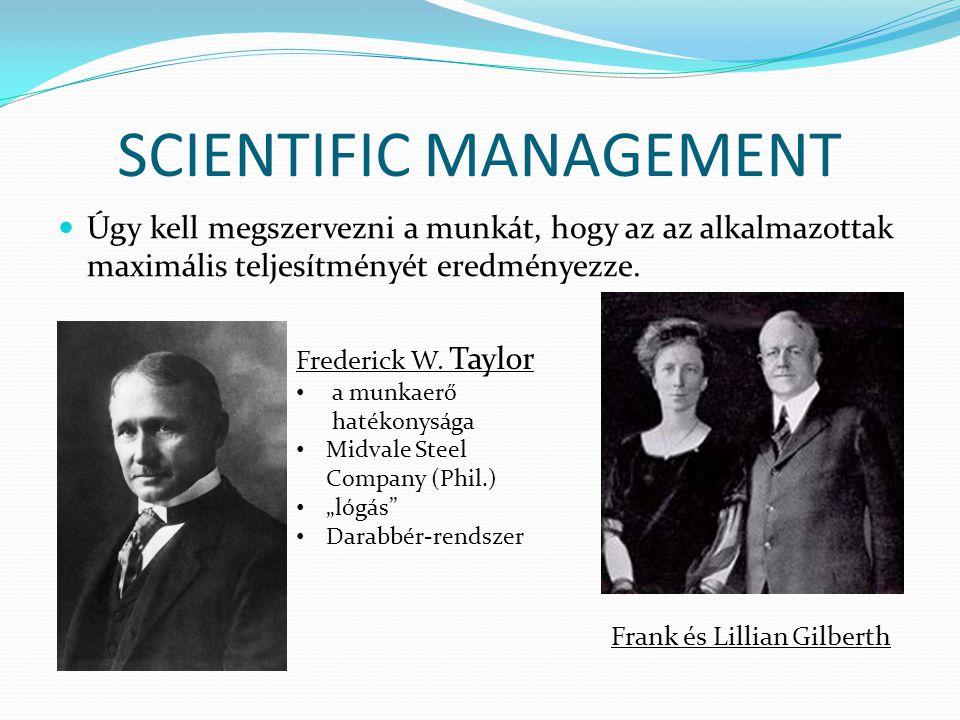 SCIENTIFIC MANAGEMENT  Úgy kell megszervezni a munkát, hogy az az alkalmazottak maximális teljesítményét eredményezze. Frederick W. Taylor • a munkae