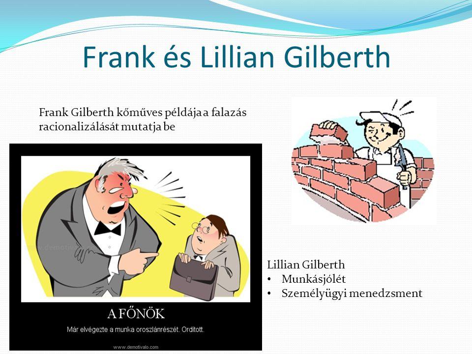 Frank és Lillian Gilberth Frank Gilberth kőműves példája a falazás racionalizálását mutatja be Lillian Gilberth • Munkásjólét • Személyügyi menedzsmen