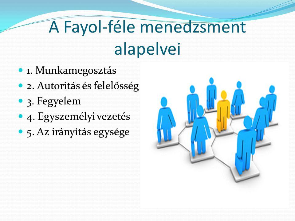 A Fayol-féle menedzsment alapelvei  1. Munkamegosztás  2. Autoritás és felelősség  3. Fegyelem  4. Egyszemélyi vezetés  5. Az irányítás egysége