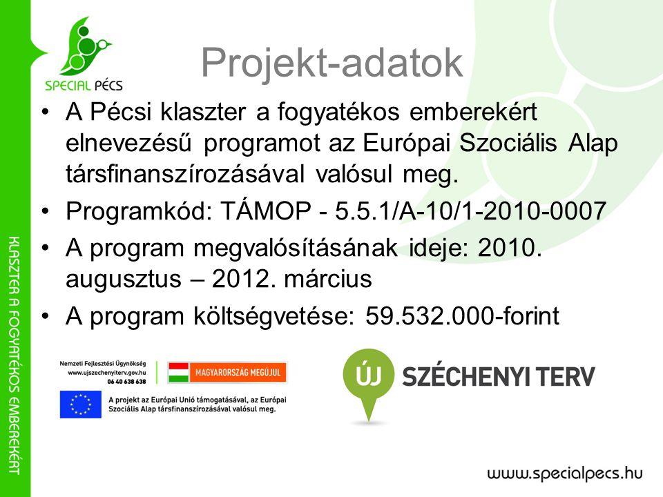 Projekt-adatok •A Pécsi klaszter a fogyatékos emberekért elnevezésű programot az Európai Szociális Alap társfinanszírozásával valósul meg.