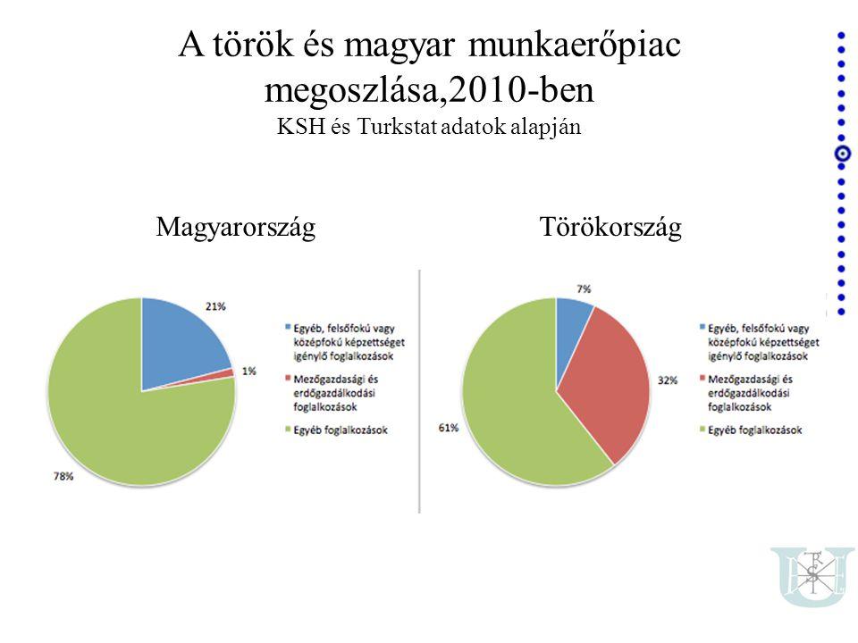 A török és magyar munkaerőpiac megoszlása,2010-ben KSH és Turkstat adatok alapján MagyarországTörökország