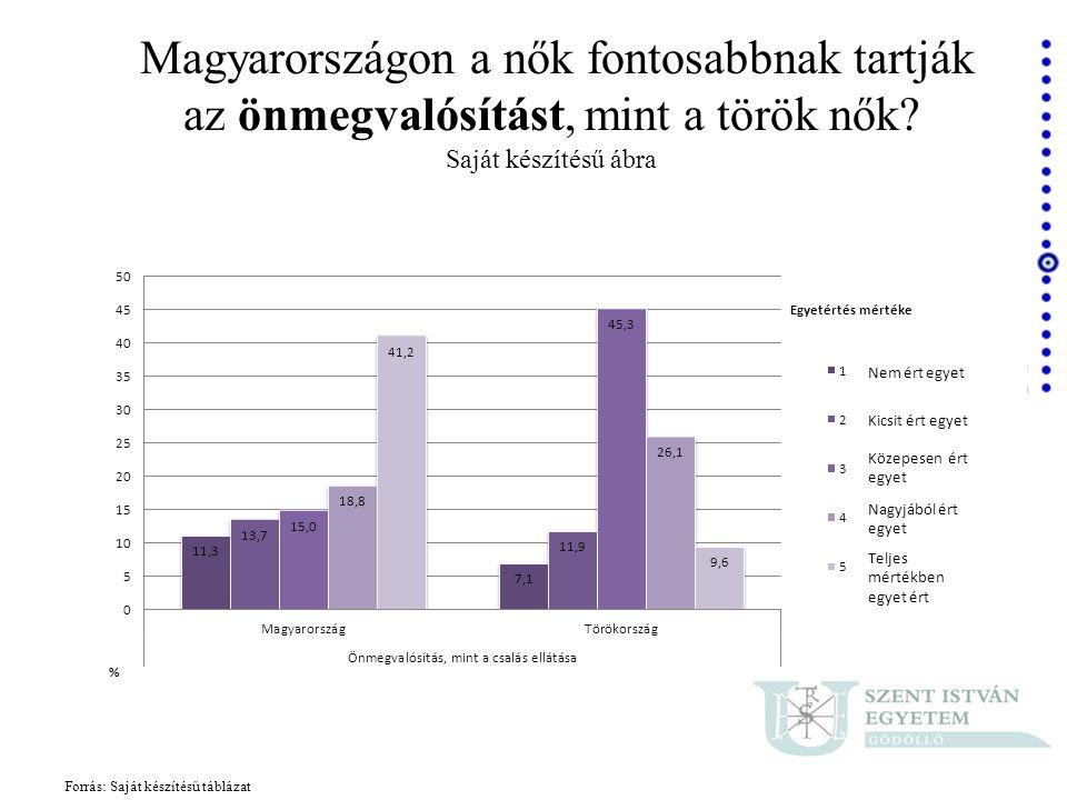 Forrás: Saját készítésű táblázat Magyarországon a nők fontosabbnak tartják az önmegvalósítást, mint a török nők? Saját készítésű ábra Nem ért egyet