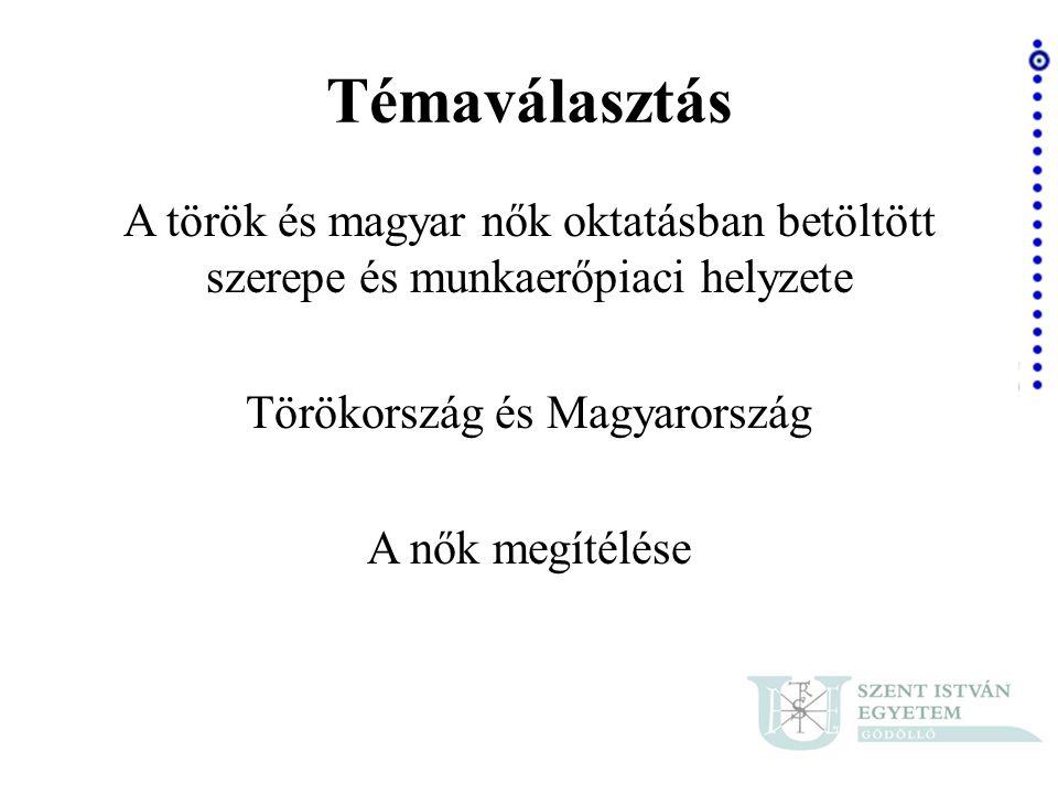 Forrás: Saját készítésű táblázat Magyarországon a nők fontosabbnak tartják az önmegvalósítást, mint a török nők.