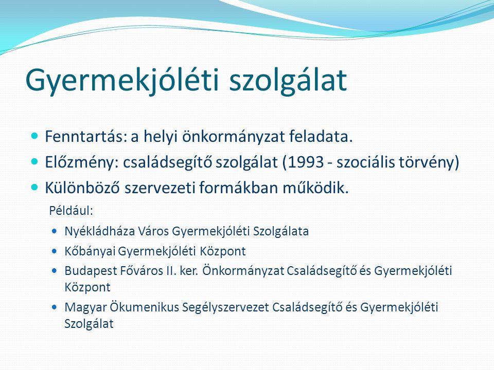 Gyermekjóléti szolgálat  Fenntartás: a helyi önkormányzat feladata.  Előzmény: családsegítő szolgálat (1993 - szociális törvény)  Különböző szervez