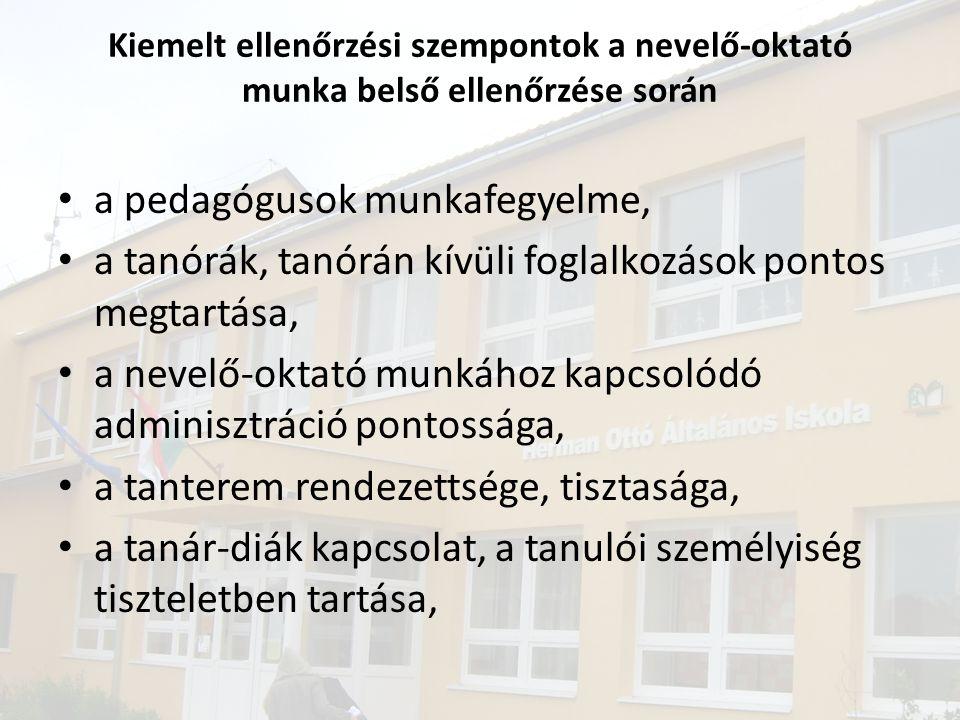• a pedagógusok munkafegyelme, • a tanórák, tanórán kívüli foglalkozások pontos megtartása, • a nevelő-oktató munkához kapcsolódó adminisztráció ponto