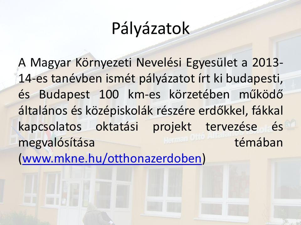 Pályázatok A Magyar Környezeti Nevelési Egyesület a 2013- 14-es tanévben ismét pályázatot írt ki budapesti, és Budapest 100 km-es körzetében működő ál
