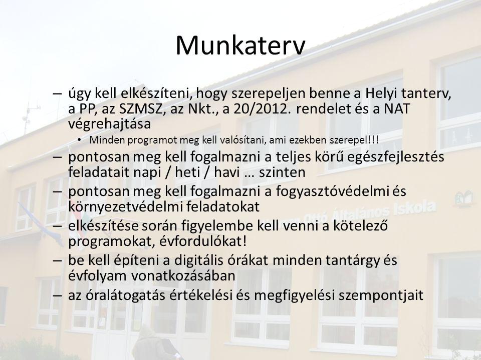 Munkaterv – úgy kell elkészíteni, hogy szerepeljen benne a Helyi tanterv, a PP, az SZMSZ, az Nkt., a 20/2012. rendelet és a NAT végrehajtása • Minden