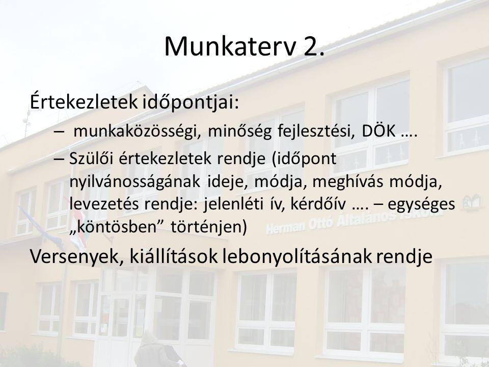 Munkaterv 2.Értekezletek időpontjai: – munkaközösségi, minőség fejlesztési, DÖK ….