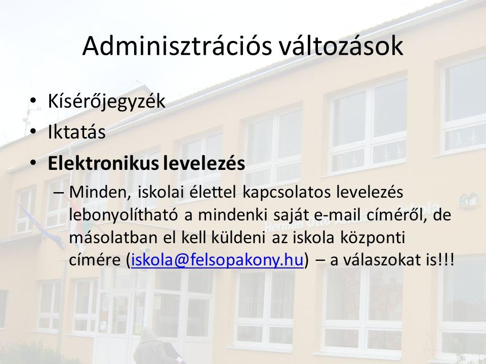 Adminisztrációs változások • Kísérőjegyzék • Iktatás • Elektronikus levelezés – Minden, iskolai élettel kapcsolatos levelezés lebonyolítható a mindenki saját e-mail címéről, de másolatban el kell küldeni az iskola központi címére (iskola@felsopakony.hu) – a válaszokat is!!!iskola@felsopakony.hu