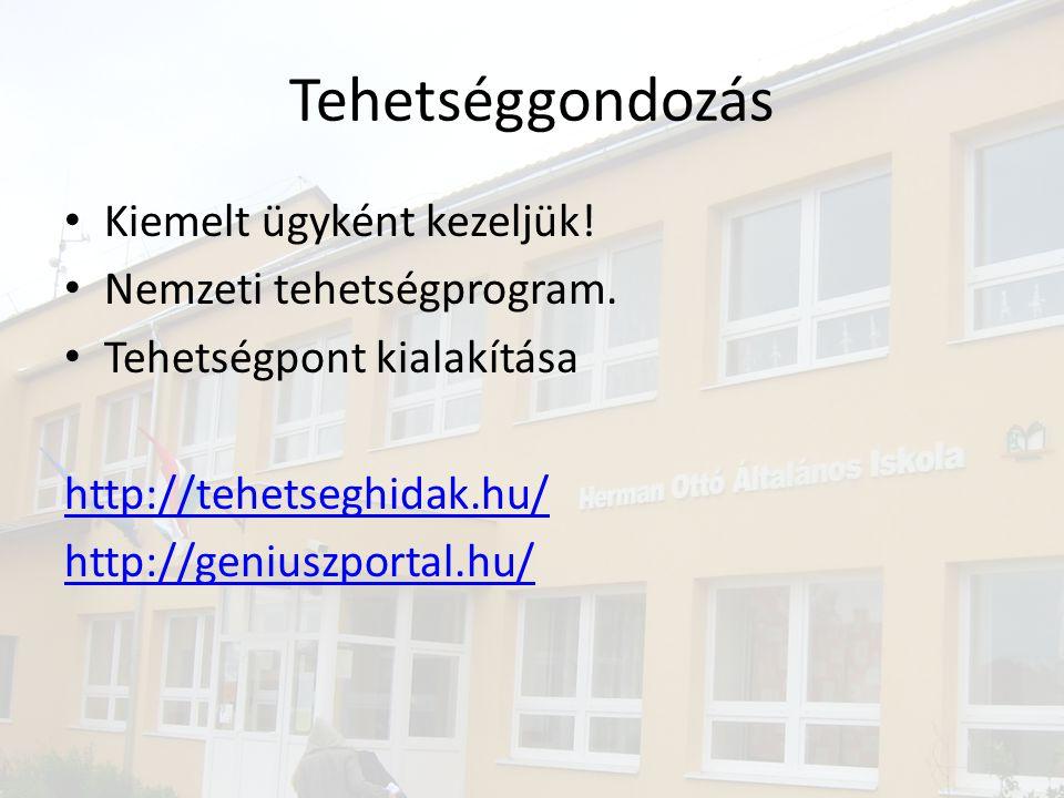 Tehetséggondozás • Kiemelt ügyként kezeljük! • Nemzeti tehetségprogram. • Tehetségpont kialakítása http://tehetseghidak.hu/ http://geniuszportal.hu/