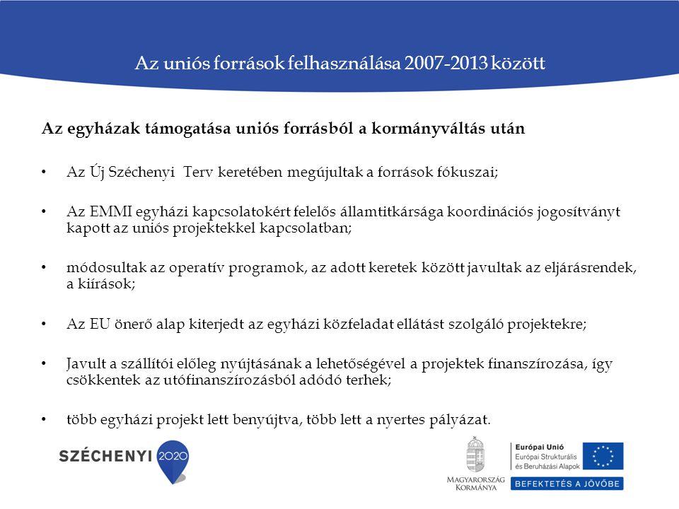 Az uniós források felhasználása 2007-2013 között Az egyházak támogatása uniós forrásból a kormányváltás után • Az Új Széchenyi Terv keretében megújult