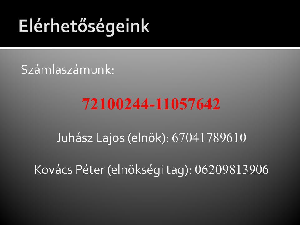 Számlaszámunk: 72100244-11057642 Juhász Lajos (elnök): 67041789610 Kovács Péter (elnökségi tag): 06209813906