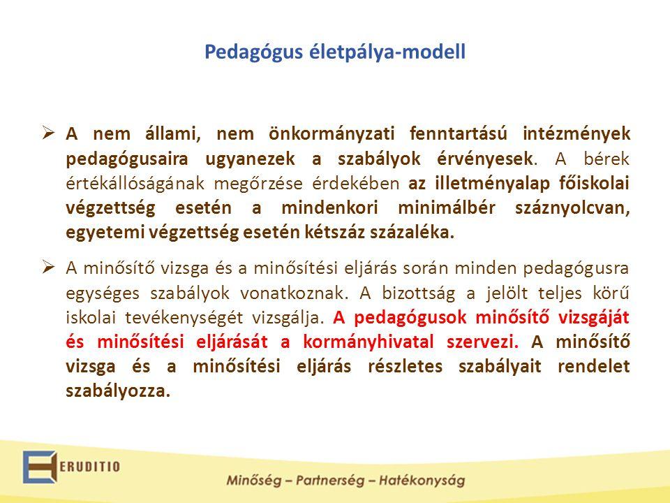 Pedagógus életpálya-modell  A nem állami, nem önkormányzati fenntartású intézmények pedagógusaira ugyanezek a szabályok érvényesek. A bérek értékálló