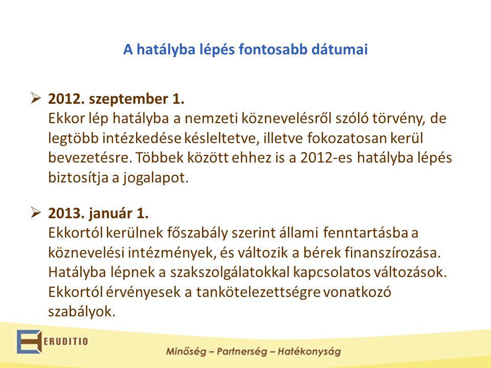 A hatályba lépés fontosabb dátumai  2012. szeptember 1. Ekkor lép hatályba a nemzeti köznevelésről szóló törvény, de legtöbb intézkedése késleltetve,