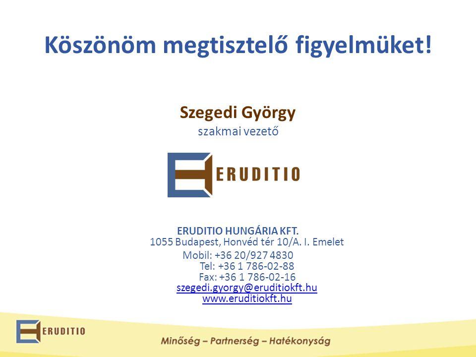Köszönöm megtisztelő figyelmüket! Szegedi György szakmai vezető ERUDITIO HUNGÁRIA KFT. 1055 Budapest, Honvéd tér 10/A. I. Emelet Mobil: +36 20/927 483