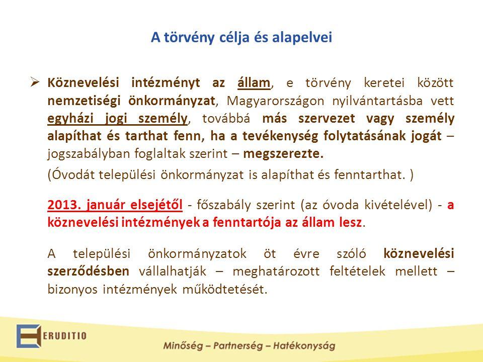 A törvény célja és alapelvei  Köznevelési intézményt az állam, e törvény keretei között nemzetiségi önkormányzat, Magyarországon nyilvántartásba vett