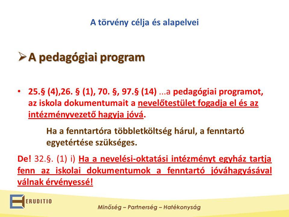 A törvény célja és alapelvei  A pedagógiai program • 25.§ (4),26. § (1), 70. §, 97.§ (14)...a pedagógiai programot, az iskola dokumentumait a nevelőt