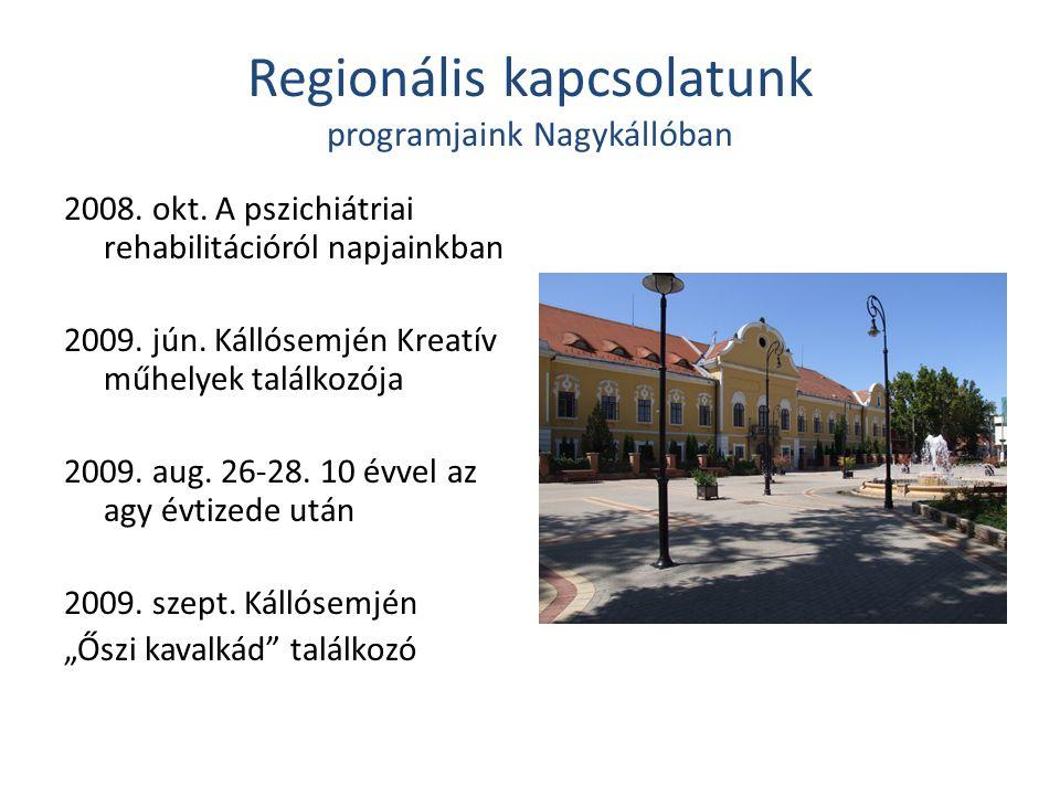 Regionális kapcsolatunk programjaink Nagykállóban 2008. okt. A pszichiátriai rehabilitációról napjainkban 2009. jún. Kállósemjén Kreatív műhelyek talá