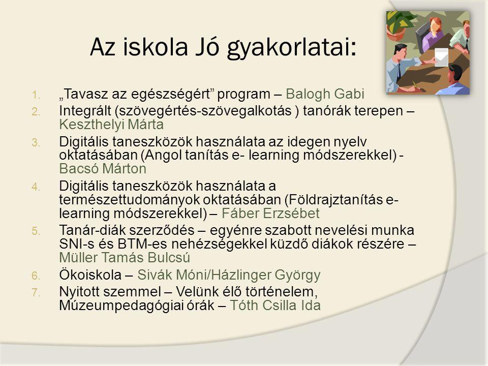 """Az iskola Jó gyakorlatai: 1. """"Tavasz az egészségért"""" program – Balogh Gabi 2. Integrált (szövegértés-szövegalkotás ) tanórák terepen – Keszthelyi Márt"""