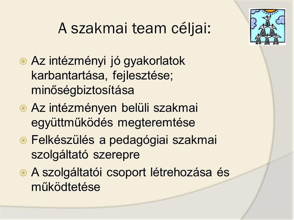 A szakmai team céljai:  Az intézményi jó gyakorlatok karbantartása, fejlesztése; minőségbiztosítása  Az intézményen belüli szakmai együttműködés meg