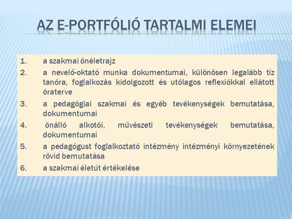 1. a szakmai önéletrajz 2. a nevelő-oktató munka dokumentumai, különösen legalább tíz tanóra, foglalkozás kidolgozott és utólagos reflexiókkal ellátot