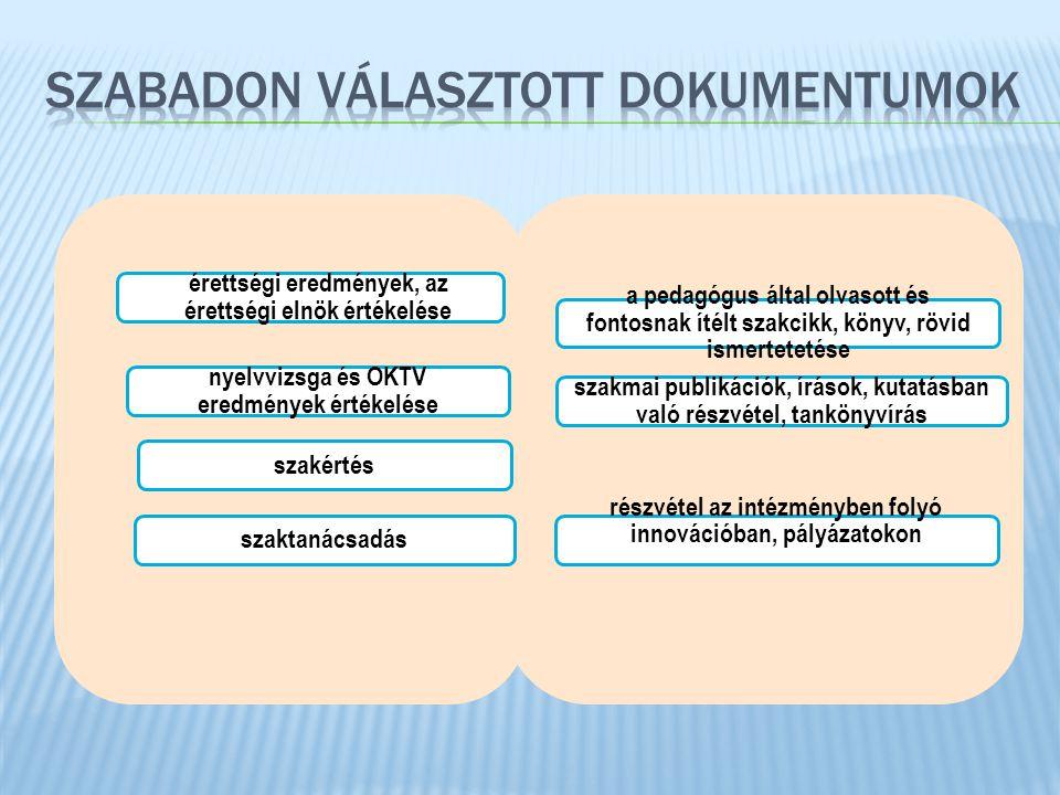 érettségi eredmények, az érettségi elnök értékelése nyelvvizsga és OKTV eredmények értékelése a pedagógus által olvasott és fontosnak ítélt szakcikk,