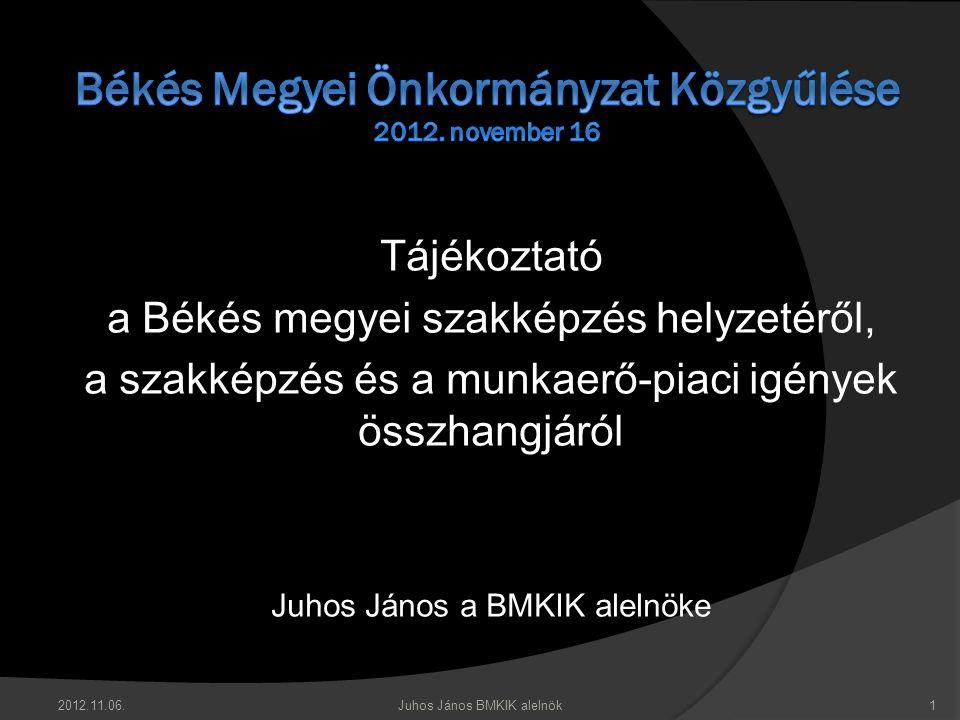 Tájékoztató a Békés megyei szakképzés helyzetéről, a szakképzés és a munkaerő-piaci igények összhangjáról Juhos János a BMKIK alelnöke 2012.11.06.1Juh
