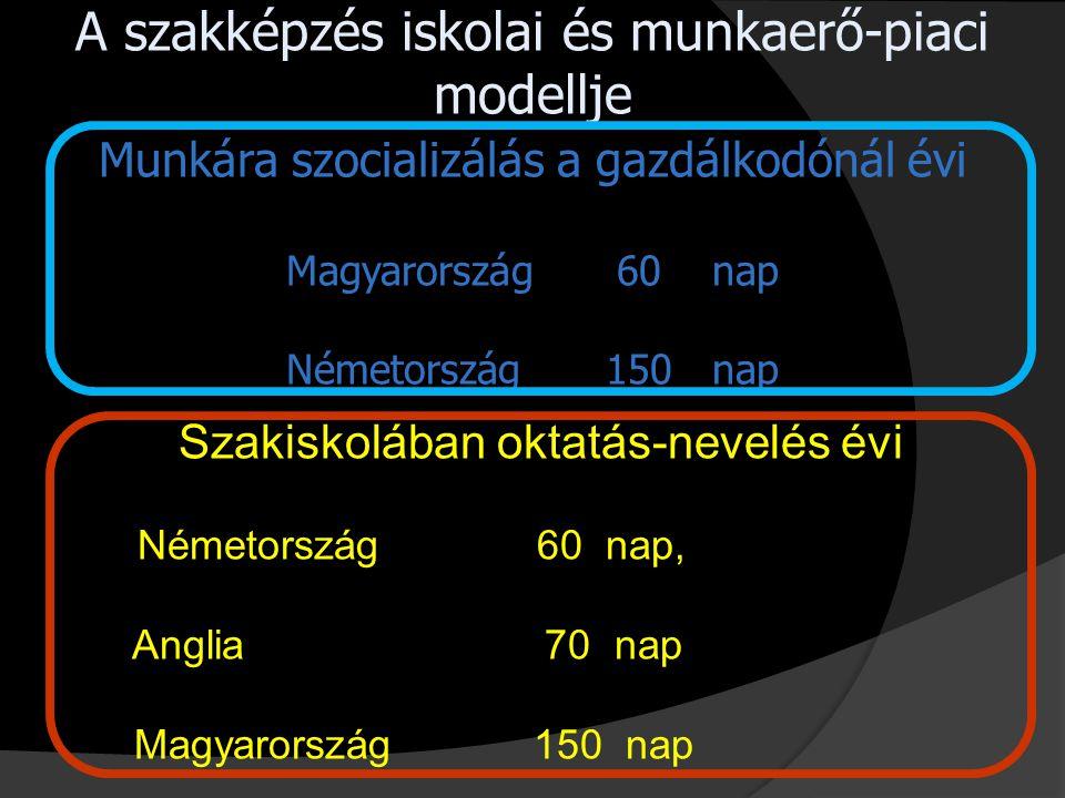 A szakképzés iskolai és munkaerő-piaci modellje Munkára szocializálás a gazdálkodónál évi Magyarország 60 nap Németország 150 nap Szakiskolában oktatás-nevelés évi Németország 60 nap, Anglia 70 nap Magyarország 150 nap