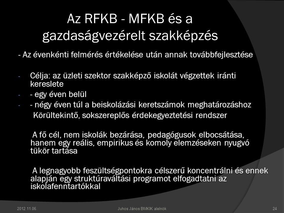 2012.11.06.Juhos János BMKIK alelnök24 Az RFKB - MFKB és a gazdaságvezérelt szakképzés - Az évenkénti felmérés értékelése után annak továbbfejlesztése - Célja: az üzleti szektor szakképző iskolát végzettek iránti kereslete - - egy éven belül - - négy éven túl a beiskolázási keretszámok meghatározáshoz Körültekintő, sokszereplős érdekegyeztetési rendszer Körültekintő, sokszereplős érdekegyeztetési rendszer  A fő cél, nem iskolák bezárása, pedagógusok elbocsátása, hanem egy reális, empirikus és komoly elemzéseken nyugvó tükör tartása  A legnagyobb feszültségpontokra célszerű koncentrálni és ennek alapján egy struktúraváltási programot elfogadtatni az iskolafenntartókkal