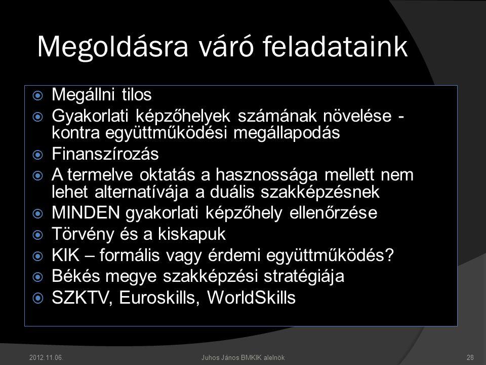 Megoldásra váró feladataink  Megállni tilos  Gyakorlati képzőhelyek számának növelése - kontra együttműködési megállapodás  Finanszírozás  A terme