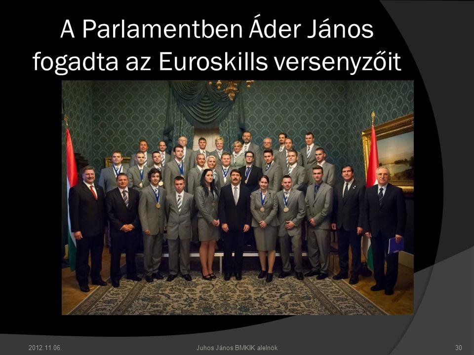 A Parlamentben Áder János fogadta az Euroskills versenyzőit 2012.11.06.Juhos János BMKIK alelnök30