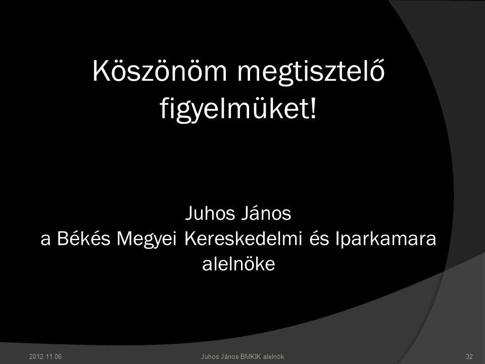 Köszönöm megtisztelő figyelmüket! Juhos János a Békés Megyei Kereskedelmi és Iparkamara alelnöke 2012.11.06.32Juhos János BMKIK alelnök