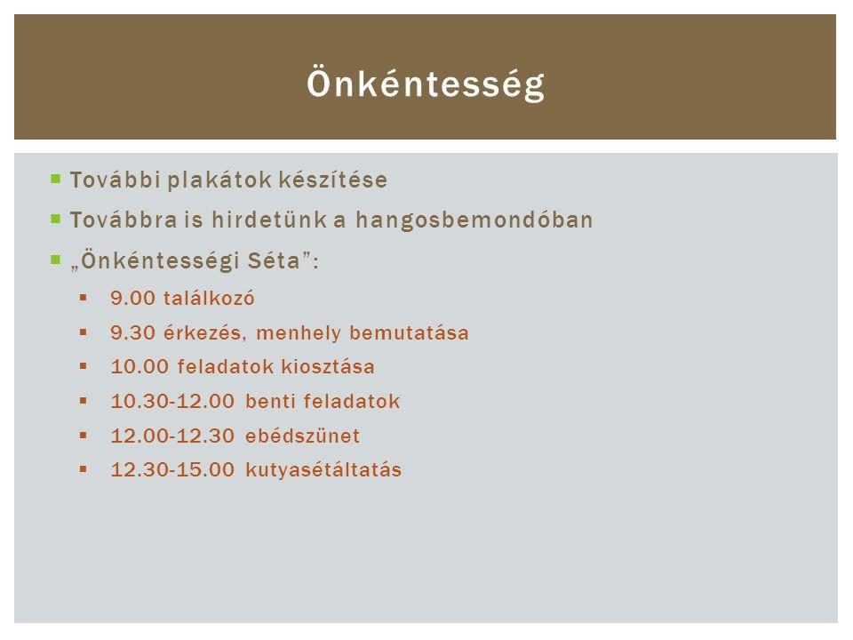 """ További plakátok készítése  Továbbra is hirdetünk a hangosbemondóban  """"Önkéntességi Séta :  9.00 találkozó  9.30 érkezés, menhely bemutatása  10.00 feladatok kiosztása  10.30-12.00 benti feladatok  12.00-12.30 ebédszünet  12.30-15.00 kutyasétáltatás Önkéntesség"""