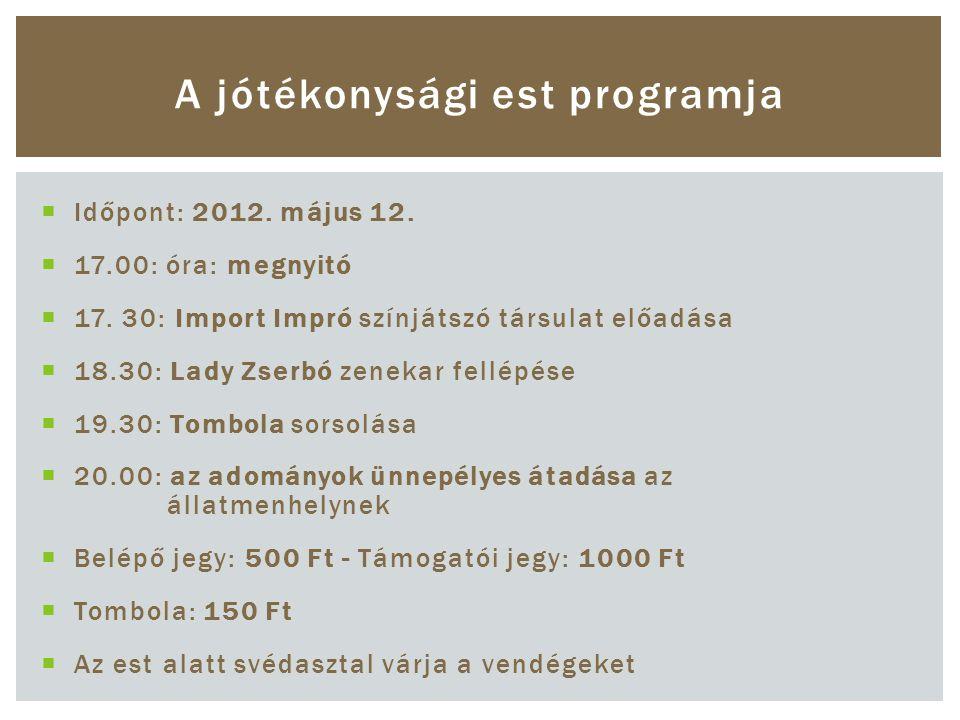  Időpont: 2012. május 12.  17.00: óra: megnyitó  17.