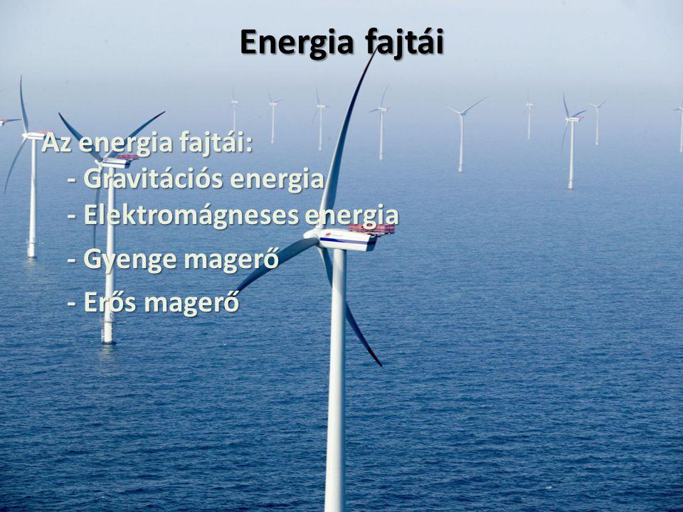 Energia fajtái Az energia fajtái: - Gravitációs energia - Elektromágneses energia - Gyenge magerő - Erős magerő