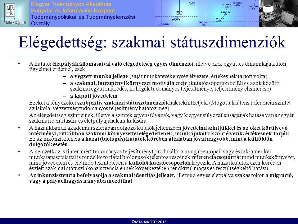 ©MTA KIK TTO 2013 Elégedettség: szakmai státuszdimenziók • A kutatói életpályák állomásaival való elégedettség egyes dimenziói, illetve ezek együttes dinamikája külön figyelmet érdemel, ezek: – a végzett munka jellege (saját munkatevékenység élvezete, értékesnek tartott volta) – a szakmai, intézményi környezet motiváló ereje (kutatócsoporton belüli és azok közötti szakmai együttműködés, kollégák tudományos teljesítménye, teljesítmény elismerése) – a kapott jövedelem Ezeket a tényezőket szubjektív szakmai státuszdimenzióknak tekinthetjük.