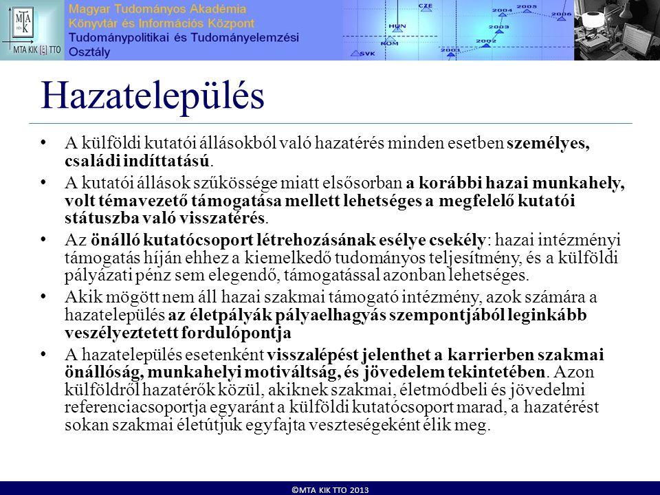 ©MTA KIK TTO 2013 Hazatelepülés • A külföldi kutatói állásokból való hazatérés minden esetben személyes, családi indíttatású. • A kutatói állások szűk