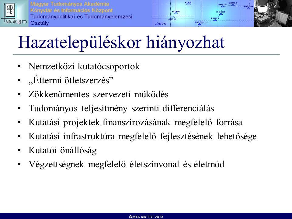 """©MTA KIK TTO 2013 Hazatelepüléskor hiányozhat • Nemzetközi kutatócsoportok • """"Éttermi ötletszerzés"""" • Zökkenőmentes szervezeti működés • Tudományos te"""
