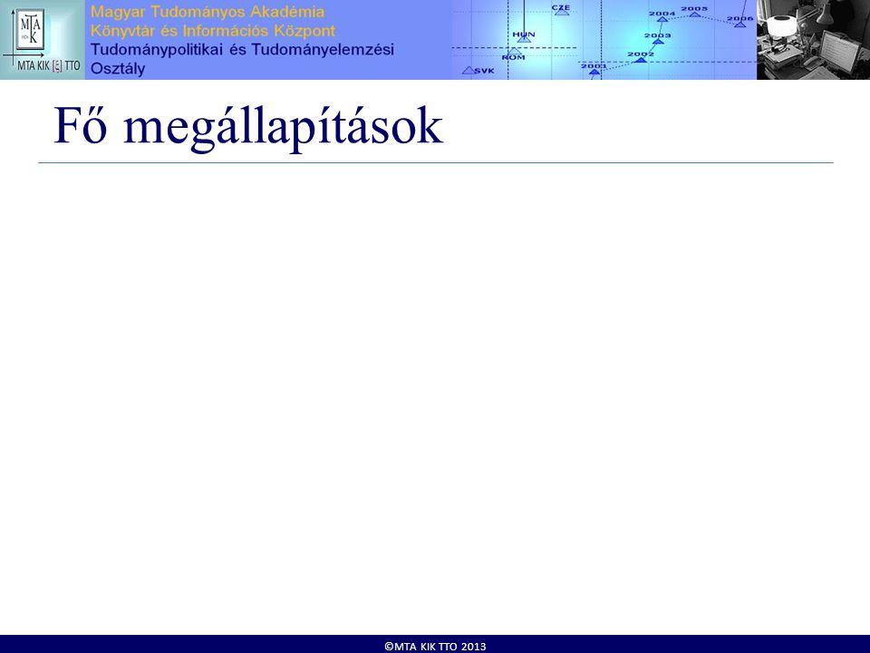 ©MTA KIK TTO 2013 Fő megállapítások