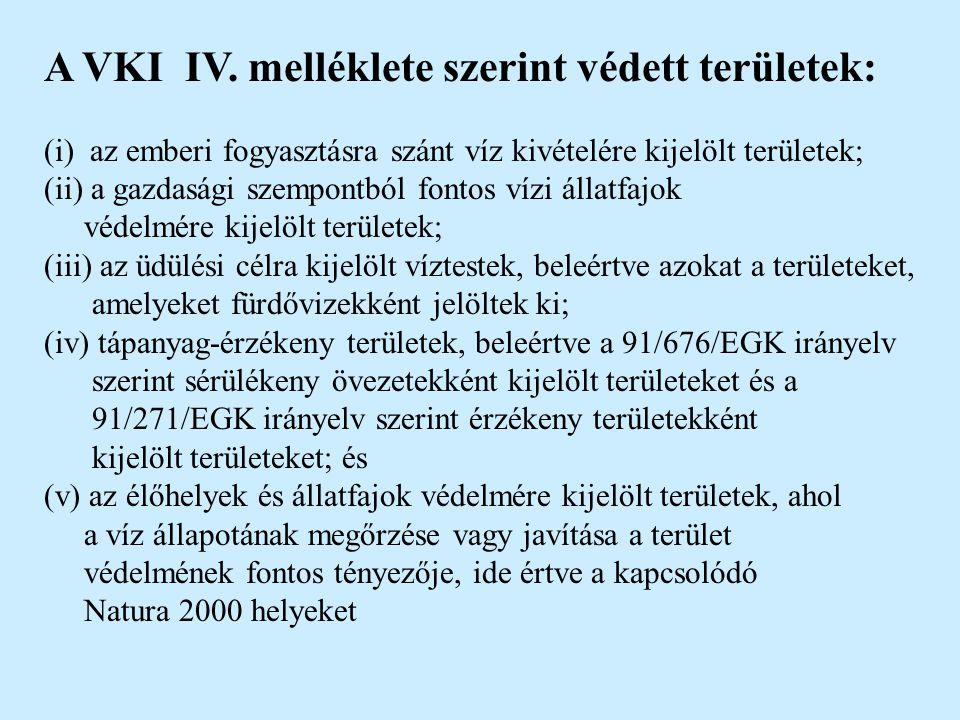 A VKI IV. melléklete szerint védett területek: (i) az emberi fogyasztásra szánt víz kivételére kijelölt területek; (ii) a gazdasági szempontból fontos